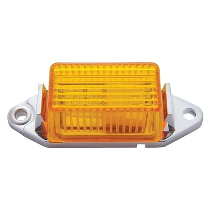 30024 by UNITED PACIFIC - Rectangular Clearance/Marker Light w/ Chrome Base - Amber Lens