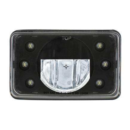 "31299 by UNITED PACIFIC - LED 4"" x 6"" Blackout Headlight w/ 6 White LED Position Lights - High Beam"