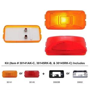 30141AK-C by UNITED PACIFIC - Rectangular Clearance/Marker Light Kit w/ Chrome Bracket - Amber Lens