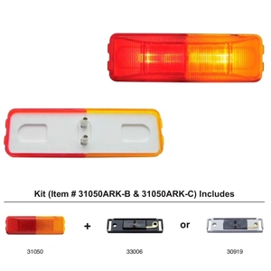 31050ARK-C by UNITED PACIFIC - Fender Mount Rectangular Clearance/Marker Light w/ Chrome Bracket - Amber & Red Lens