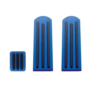 70286 by UNITED PACIFIC - Peterbilt Blue Anodized Pedal Set - Black Insert
