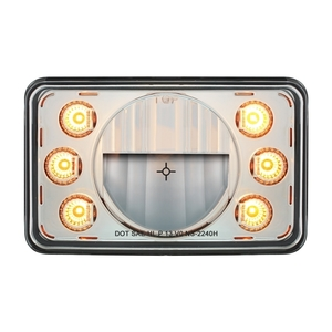 "31238 by UNITED PACIFIC - LED 4"" x 6"" Headlight w/ Dual Function 6 Amber LED Position Lights - High Beam"