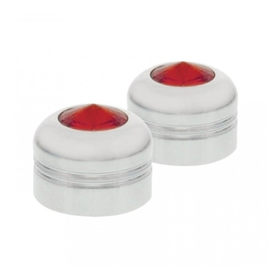 """10056 by UNITED PACIFIC - 9/16"""" Chrome Aluminum Nut Cover - Red Diamond"""
