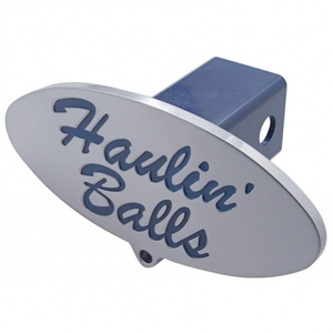 """77003 by UNITED PACIFIC - """"Haulin Balls"""" Logo Hitch Cover"""