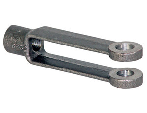 B27086A56ZY by BUYERS PRODUCTS - Adjustable Yoke End 3/8-24 NF Thread And 1/2 Inch Diameter Thru-Hole Zinc Plated