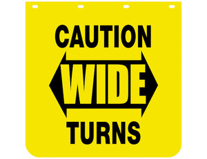 B2430YC by BUYERS PRODUCTS - Caution Wide Turns Yellow Polymer Mudflaps 24x30 Inch