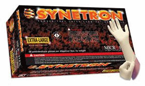 SY911XXL by MICROFLEX - Synetron® Powder-Free Extended Cuff Latex Examination Gloves, Natural, XXL