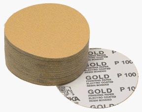 """23-379-320 by MIRKA ABRASIVES - Gold 6"""" PSA Autobox Discs, 100/box, 320-grit"""