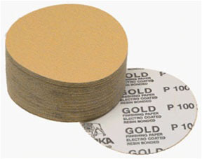 "23-379-220 by MIRKA ABRASIVES - Gold 6"" PSA Autobox Discs, 100/box, 220-grit"