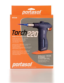 GT220 by PORTASOL - Medium Power Butane Torch, 50-220 Watts, 751 BTU/h Flame Power