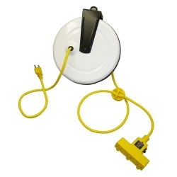 2630-3000 by GENERAL INDUSTRIAL MANUFACTURES - Power Supply Reel with 30' Cord, Triple Receptacle and Circuit Breaker