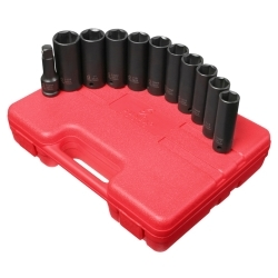 """2611 by SUNEX TOOLS - 11 Piece 1/2"""" Drive SAE and Metric Extra Thin Wall Deep Impact Socket Set"""