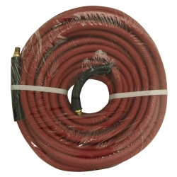 "21777 by APACHE - 3/8"" x 50' Red Rubber Hose Coupled Brass 1/4"" Male x Male"