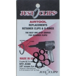 """380-12 by JUST CLIPS - 3/8"""" Anvil Retainer Clip and O-Ring Kit, 12 Pack"""