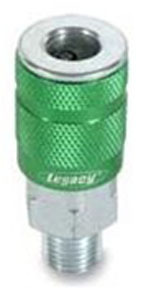 """A71420B-X by LEGACY MFG. CO. - ColorConnex Type B, 1/4"""" Body, 1/4"""" MNPT Sleeve coupler, Green Anodized"""
