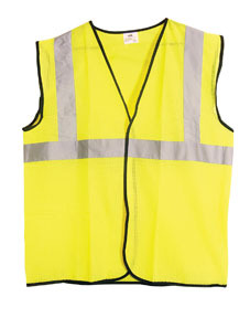 690-1208 by SAS SAFETY CORP - ANSI Class 2 Safety Vest, Yellow, Medium