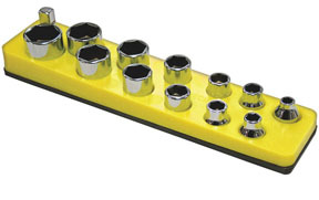 716 by MECHANIC'S TIME SAVERS - 3/8 in. Drive Magnetic Yellow Socket Holder   5.5-22mm