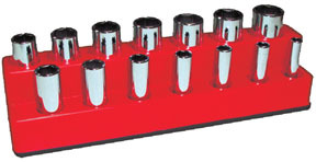 1487 by MECHANIC'S TIME SAVERS - 3/8 in. Drive 14 Hole Rocket Red Impact Socket Holder