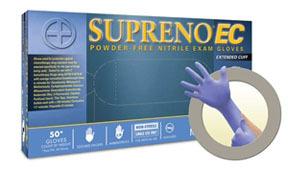 SEC375M by MICROFLEX - Supreno® EC Powder-Free Extended Cuff Nitrile Examination Gloves, Blue, Medium