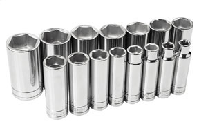 "4815-6 by SK HAND TOOL - 1/2"" Dr  Socket Chrome 6 Pt Deep SAE Set, 15Pc"