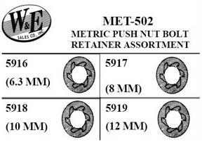 MET502 by W & E SALES CO., INC. - Metric Push Nut Bolt, Retainer Assortment
