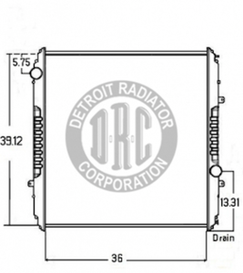 FR49 by DETROIT RADIATOR CORP - RADIATOR - Freightliner Radiator, Sterling AT9500, Freightliner Century/Classic/FLD