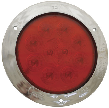 53302 by GROTE - SuperNova® 4″ 10-Diode Pattern LED S/T/T Lamp, Red w/ Stainless Steel Theft-Resistant Flange