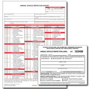 471 by JJ KELLER - Annual Vehicle Inspection Report (w/ Carbon) + Label - Retail Packaging - Report & Label - Retail Packaging