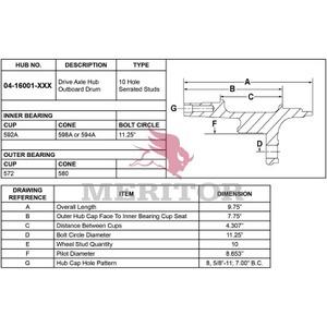 0416001001 by MERITOR - AY-HUB/STUD/ABS