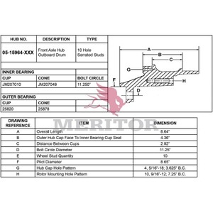 05-15964-1057 by MERITOR - HUB ASSEMBLY