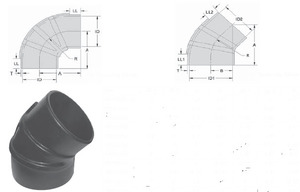 """RE50X40 by POWER PRODUCTS - Rubber Elbow, Reducing 5"""" To 4""""  90deg"""