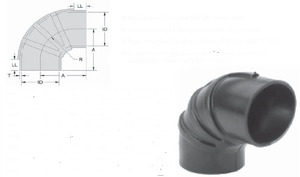 """RE55 by POWER PRODUCTS - Rubber Elbow, 5.5""""  90deg"""