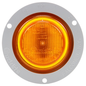 10051Y3 by TRUCK-LITE - 10 Series, LED, Yellow Round, 2 Diode, Marker Clearance Light, P2, Gray Polycarbonate Flange Mount, Fit 'N Forget M/C, Female PL-10, 12V, Kit, Bulk