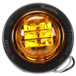 10075Y3 by TRUCK-LITE - 10 Series, LED, Yellow Round, 8 Diode, Marker Clearance Light, PC, Black PVC Grommet Mount, PL-10, .180 Bullet Terminal/Ring Terminal, 12V, Kit, Bulk