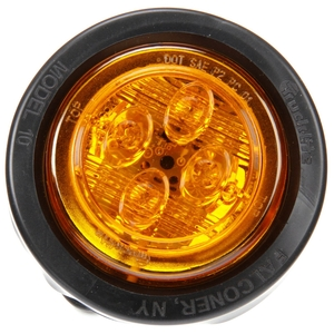10076Y by TRUCK-LITE - 10 Series, Low Profile, LED, Yellow Round, 8 Diode, Marker Clearance Light, PC, Black PVC Grommet Mount, Fit 'N Forget M/C, Female PL-10, 12V, Kit