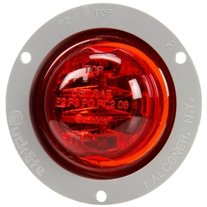 10079R by TRUCK-LITE - 10 Series, LED, Red Round, 8 Diode, Marker Clearance Light, PC, Gray Polycarbonate Flange Mount, PL-10, .180 Bullet Terminal/Ring Terminal, 12V, Kit
