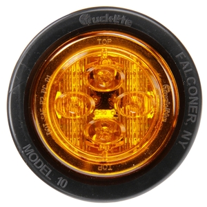 10086Y by TRUCK-LITE - 10 Series, Low Profile, LED, Yellow Round, 8 Diode, Marker Clearance Light, PC, Black PVC Grommet Mount, PL-10, .180 Bullet Terminal/Ring Terminal, 12V, Kit