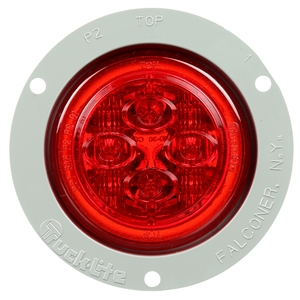 10089R by TRUCK-LITE - 10 Series, Low Profile, LED, Red Round, 8 Diode, Marker Clearance Light, PC, Gray Polycarbonate Flange Mount, PL-10, .180 Bullet Terminal/Ring Terminal, 12V, Kit