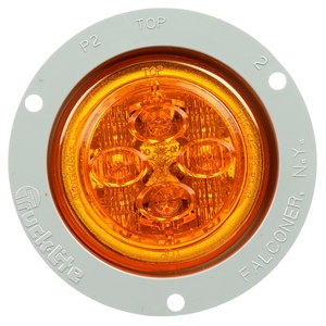 10089Y by TRUCK-LITE - 10 Series, Low Profile, LED, Yellow Round, 8 Diode, Marker Clearance Light, PC, Gray Polycarbonate Flush Mount, PL-10, .180 Bullet Terminal/Ring Terminal, 12V, Kit