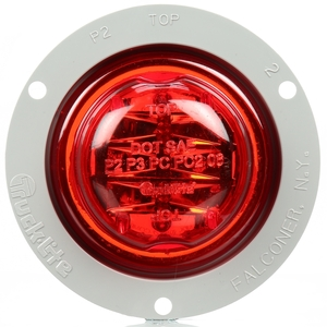 10090R by TRUCK-LITE - 10 Series, LED, Red Round, 8 Diode, Marker Clearance Light, PC, Gray Polycarbonate Flange Mount, Fit 'N Forget M/C, Female PL-10, 12V, Kit