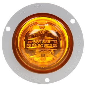 10090Y by TRUCK-LITE - 10 Series, LED, Yellow Round, 8 Diode, Marker Clearance Light, PC, Gray Polycarbonate Flange Mount, Fit 'N Forget M/C, Female PL-10, 12V, Kit