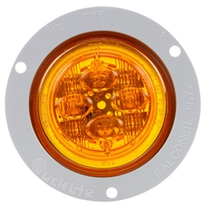 10091Y by TRUCK-LITE - 10 Series, Low Profile, LED, Yellow Round, 8 Diode, Marker Clearance Light, PC, Gray Polycarbonate Flush Mount, Fit 'N Forget M/C, Female PL-10, 12V, Kit