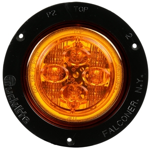 10092Y by TRUCK-LITE - 10 Series, LED, Yellow Round, 8 Diode, Marker Clearance Light, PC, Black Polycarbonate Flush Mount, Fit 'N Forget M/C, Female PL-10, 12V, Kit