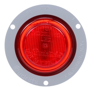 10251R by TRUCK-LITE - 10 Series, LED, Red Round, 2 Diode, Marker Clearance Light, P2, Gray Polycarbonate Flange Mount, Fit 'N Forget M/C, 12V