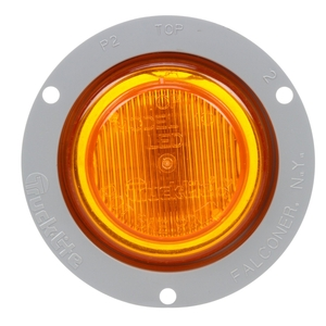 10251Y3 by TRUCK-LITE - 10 Series, LED, Yellow Round, 2 Diode, Marker Clearance Light, P2, Gray Polycarbonate Flange Mount, Fit 'N Forget M/C, 12V, Bulk