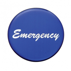 """23236-1B by UNITED PACIFIC - """"Emergency"""" Glossy Air Valve Knob Sticker Only - Blue"""