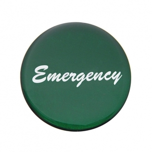 """23236-1G by UNITED PACIFIC - """"Emergency"""" Glossy Air Valve Knob Sticker Only - Green"""