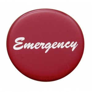 """23236-1R by UNITED PACIFIC - """"Emergency"""" Glossy Air Valve Knob Sticker Only - Red"""
