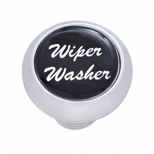 "23454 by UNITED PACIFIC - Small Deluxe Dash Knob w/ ""Wiper/Washer"" Black Glossy Sticker"