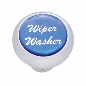 "23455 by UNITED PACIFIC - Small Deluxe Dash Knob w/ ""Wiper/Washer"" Blue Glossy Sticker"